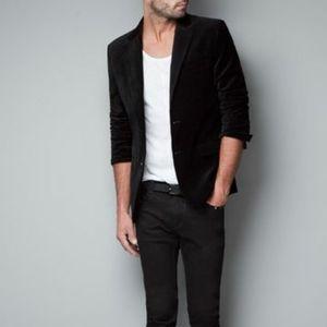 Zara velvet black blazer jacket